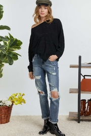 DAVI AND DANI Wide Neck Cable Knit Sweater - Back cropped