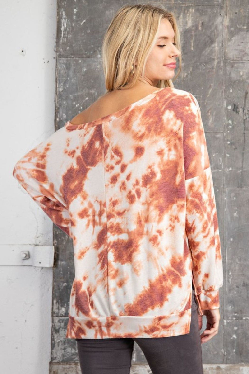 143 Story Wide Neck Tie Dye Knit Top - Side Cropped Image
