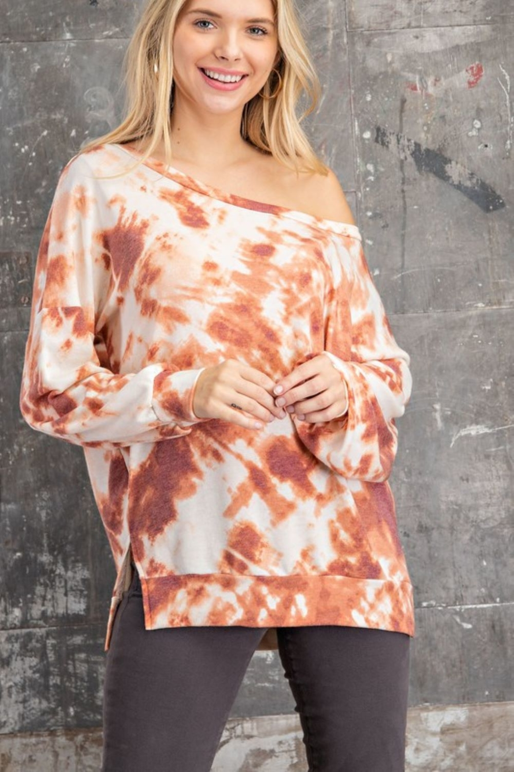 143 Story Wide Neck Tie Dye Knit Top - Front Full Image