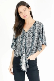 Six Fifty Wide Sleeve Snake Print Tie Front Top - Product Mini Image