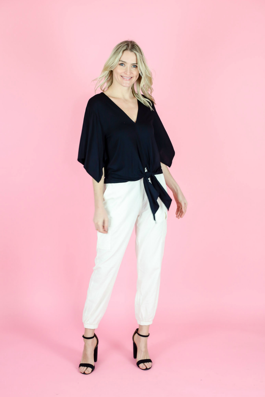 Six Fifty Wide Sleeve Tie Front Top - Front Cropped Image