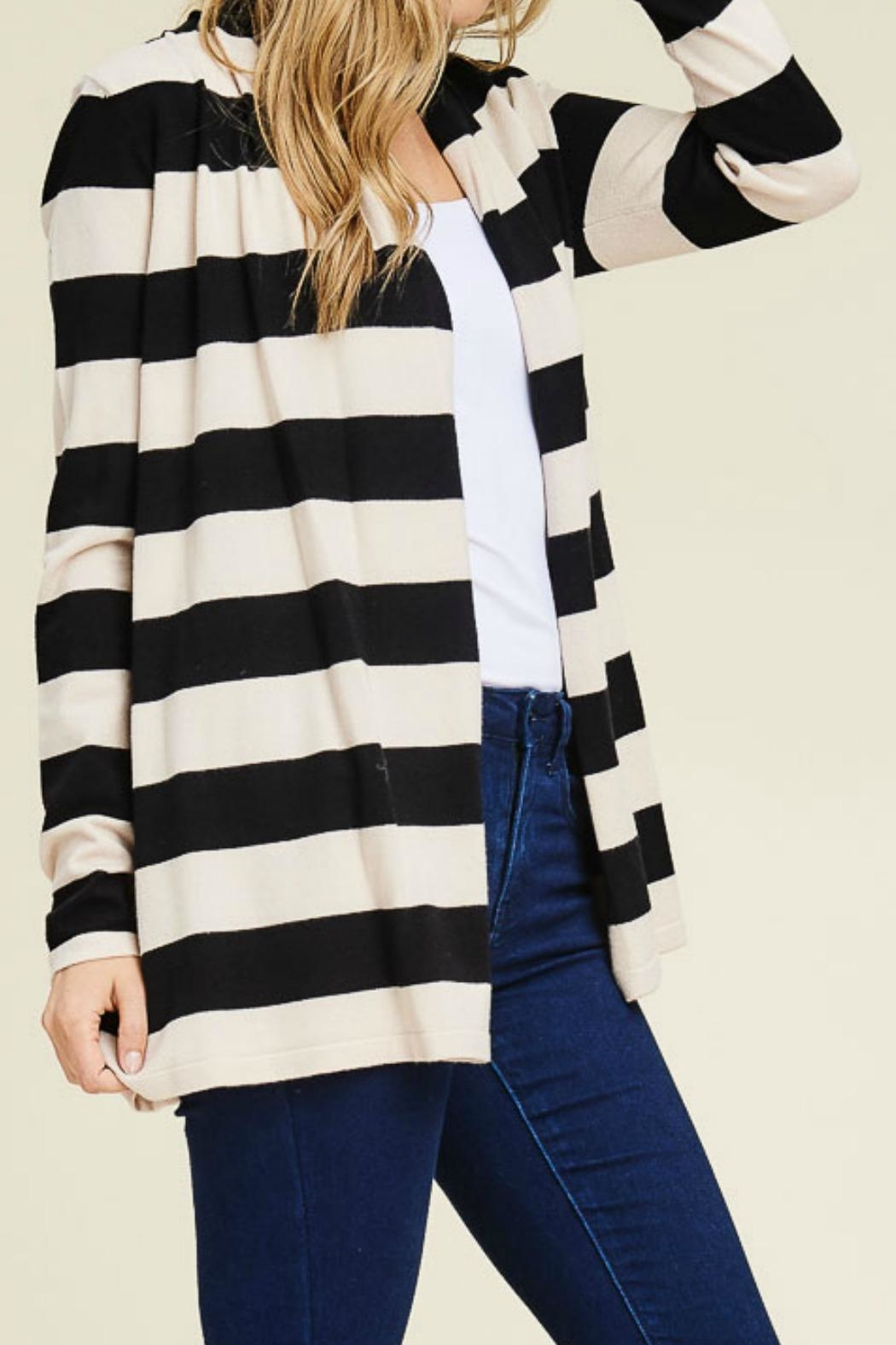 Staccato Wide Stripe Cardigan - Front Full Image