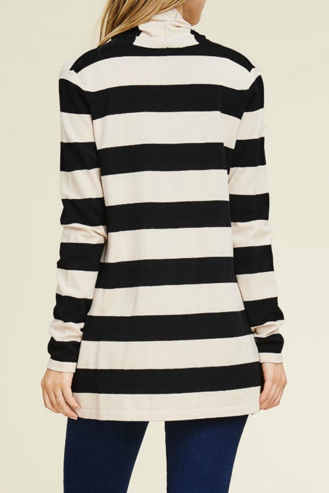 Staccato Wide Stripe Cardigan - Side Cropped Image