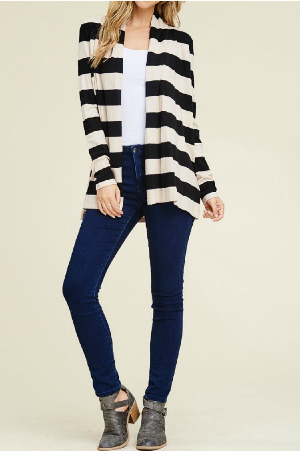 Staccato Wide Stripe Cardigan - Back Cropped Image