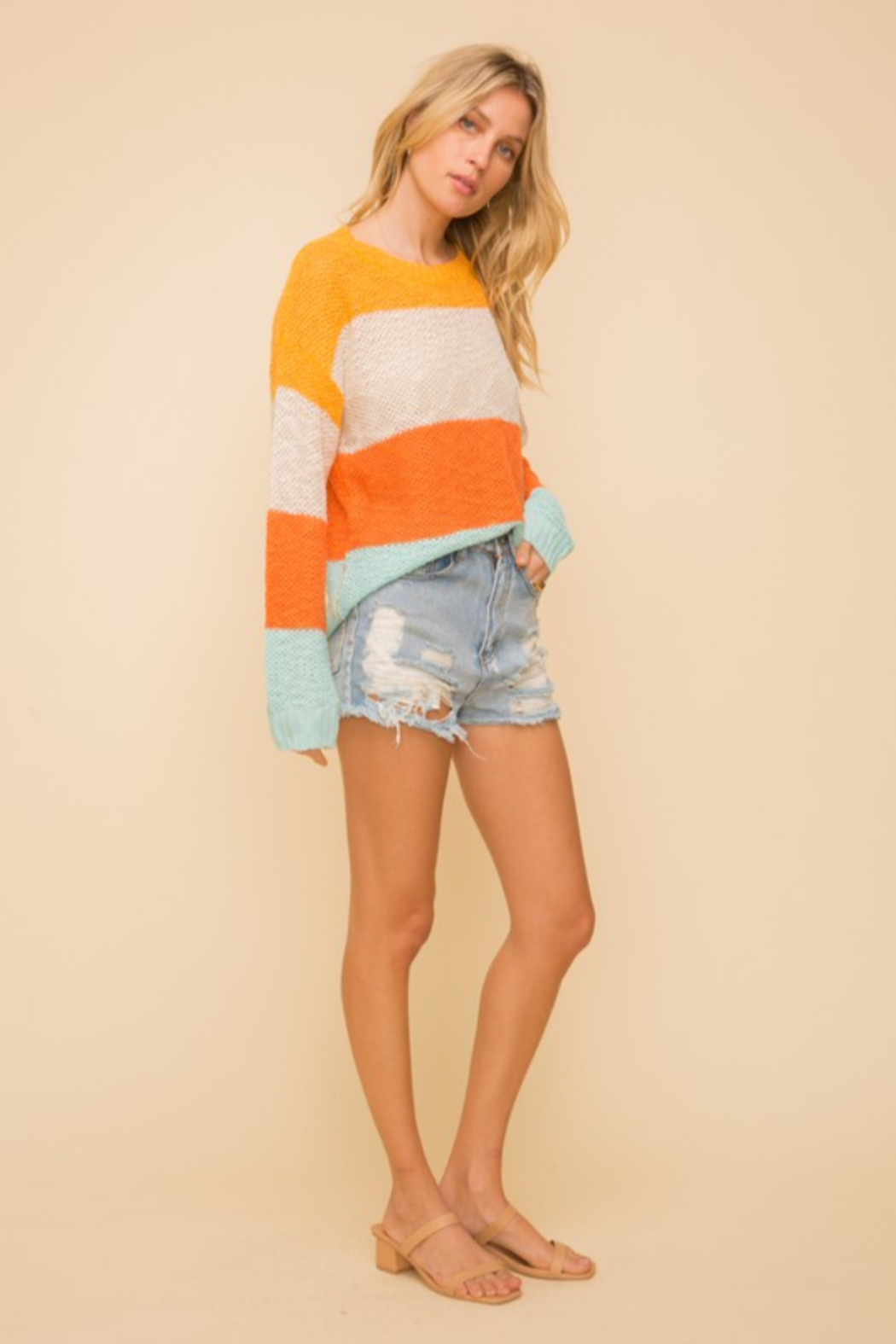 Hem & Thread Wide Stripe Crewneck Sweater - Back Cropped Image
