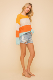 Hem & Thread Wide Stripe Crewneck Sweater - Back cropped