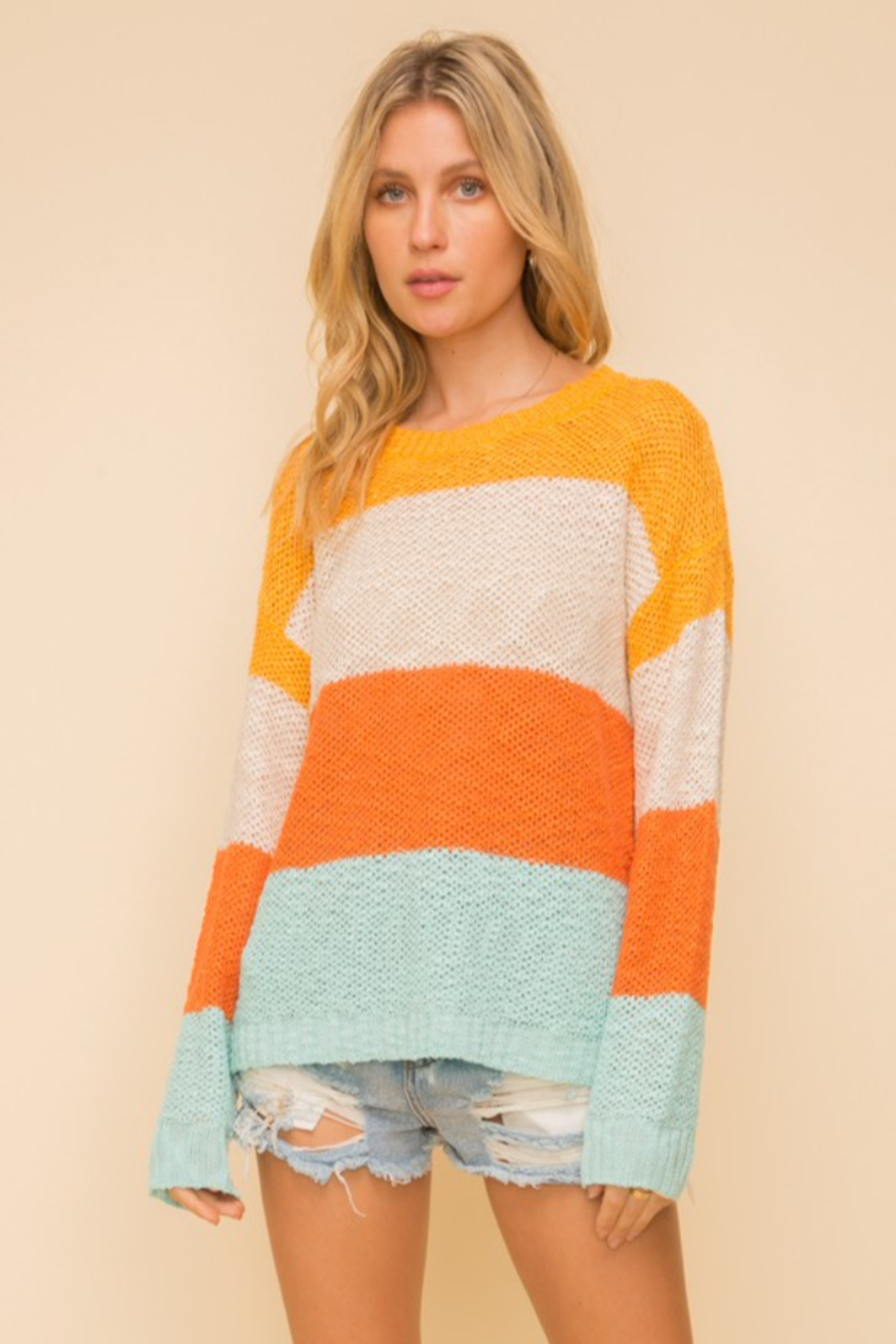 Hem & Thread Wide Stripe Crewneck Sweater - Front Full Image