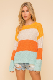 Hem & Thread Wide Stripe Crewneck Sweater - Front full body