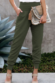 The Emerald Fox Boutique Wide Waistband Pocketed Joggers - Product Mini Image