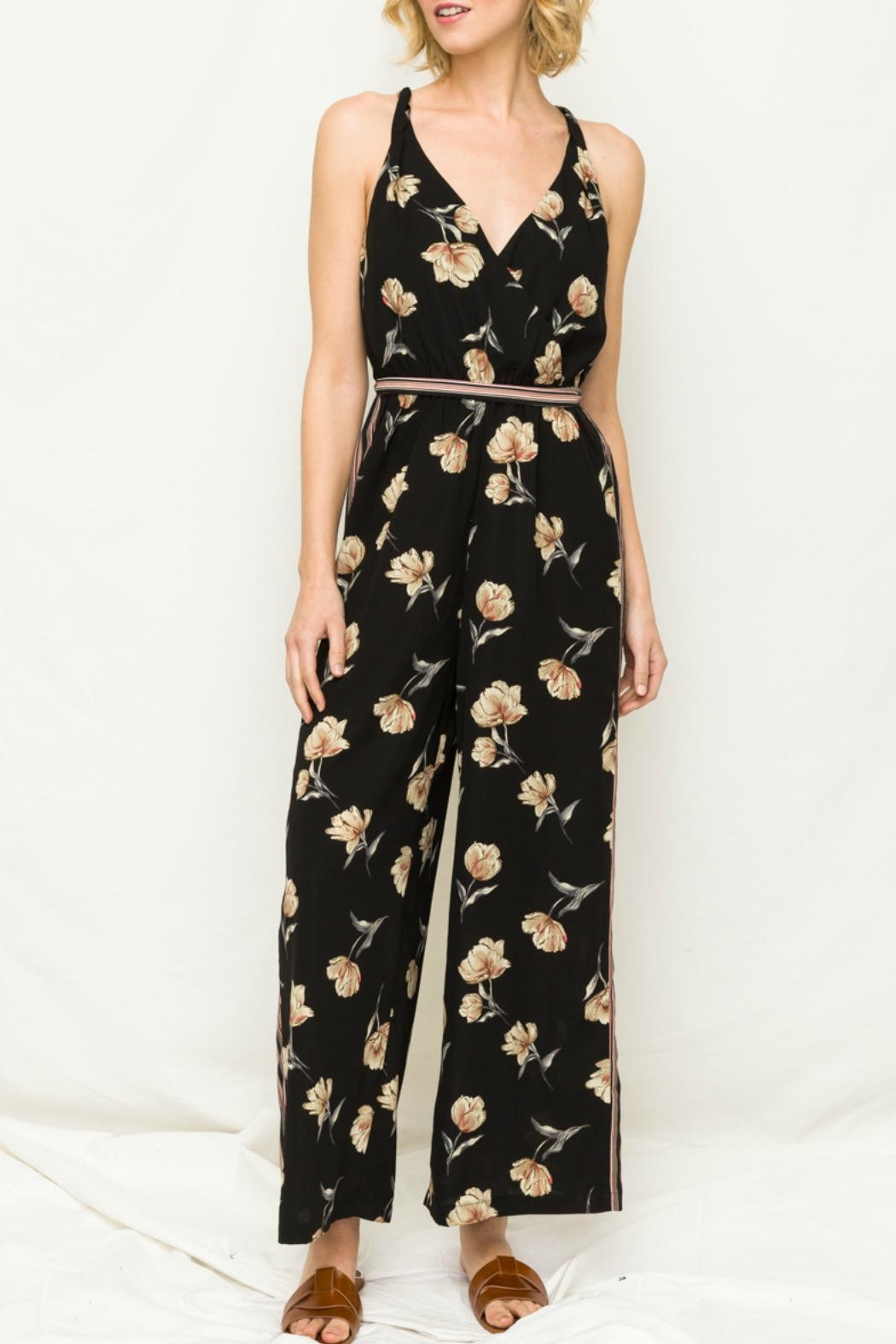Mystree Wideleg Jump Suit - Front Cropped Image