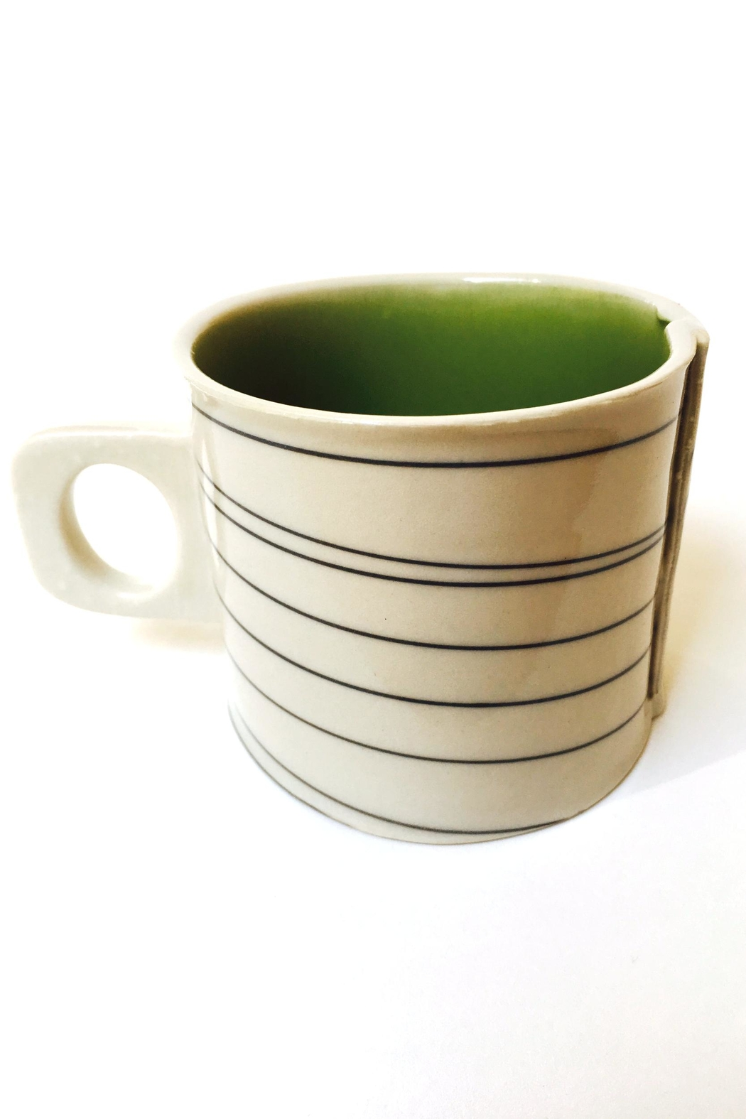 Wilcoxson Brooklyn Ceramics Porcelain Green Stripe Mug - Main Image