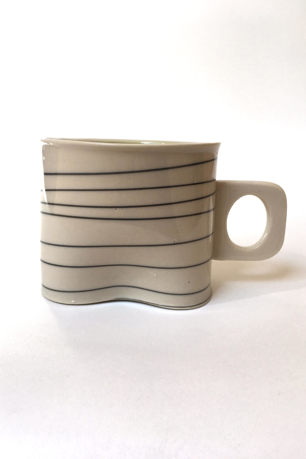 Wilcoxson Brooklyn Ceramics Porcelain Green Stripe Mug - Front Full Image