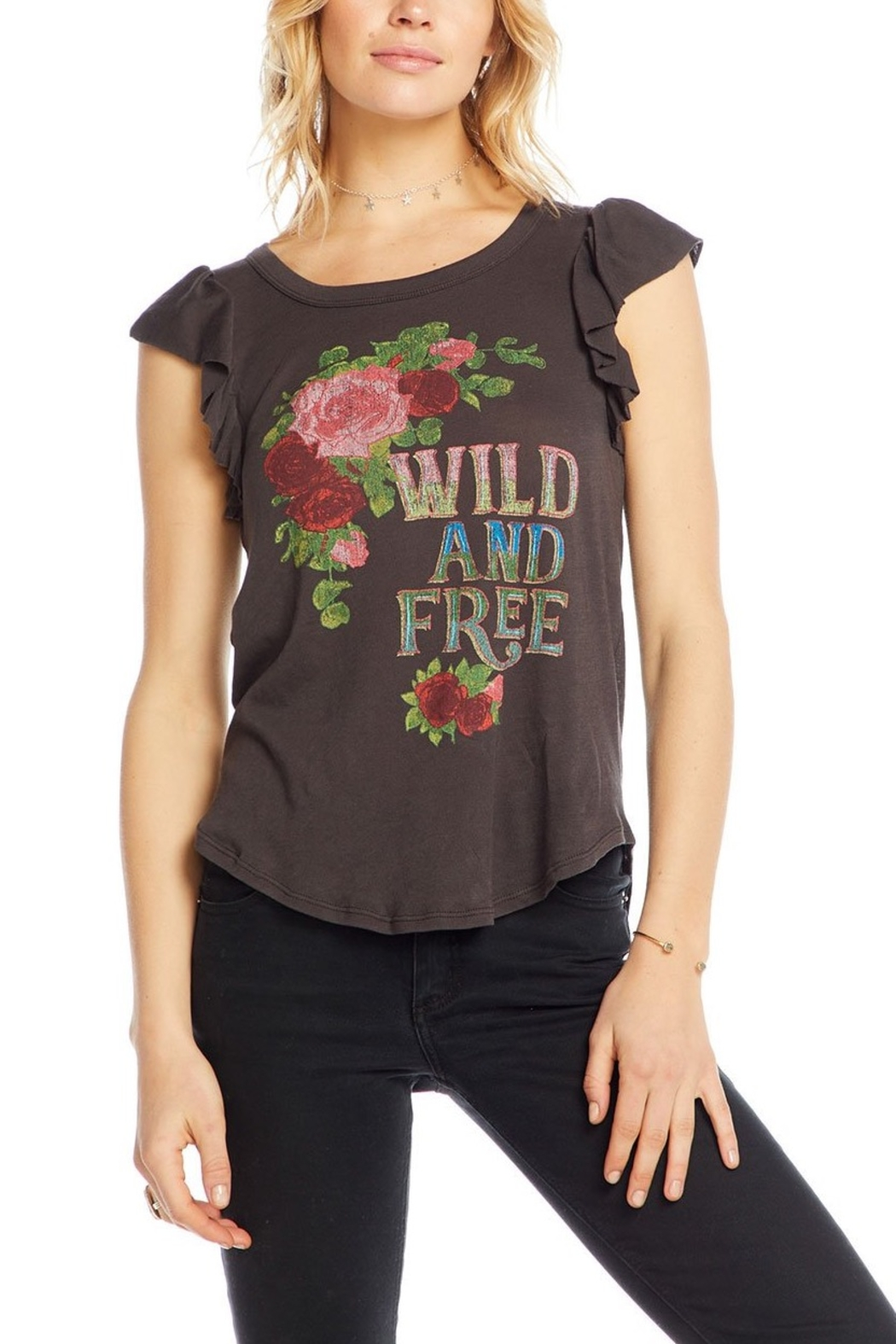 Chaser Wild and Free Ruffle Sleeve Tee - Main Image