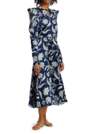 Johanna Ortiz Wild Blue Wonder Silk Puff-Sleeve Midi Dress - Product Mini Image