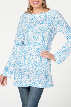 Whimsy Rose Wild Duo Aqua - Banded Boat Tunic - Product List Image