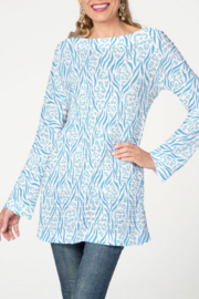 Whimsy Rose Wild Duo Aqua - Banded Boat Tunic - Front cropped