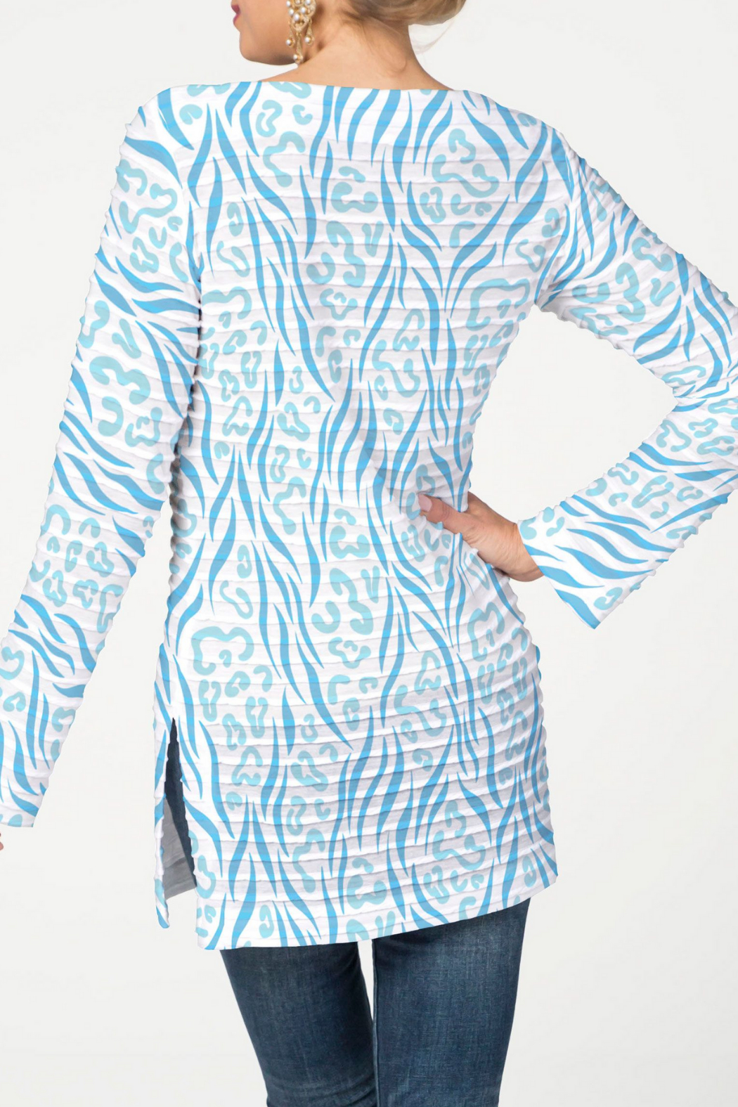Whimsy Rose Wild Duo Aqua - Banded Boat Tunic - Front Full Image