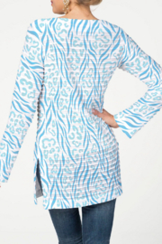 Whimsy Rose Wild Duo Aqua - Banded Boat Tunic - Front full body