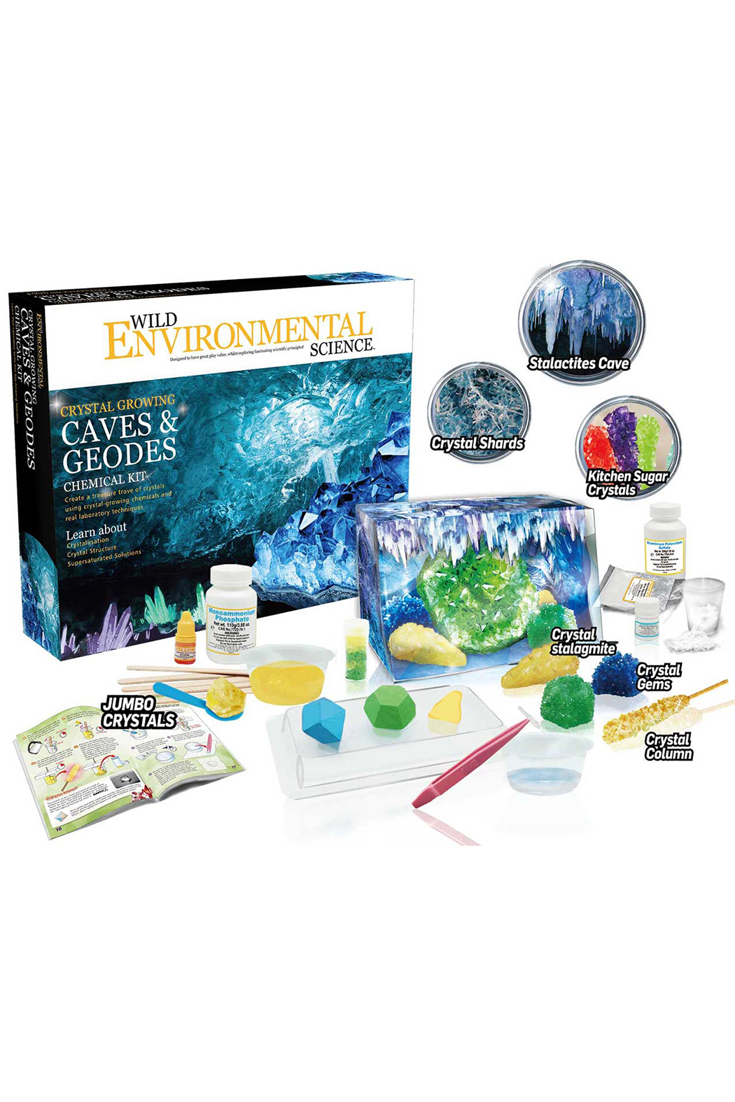 Learning Advantage Wild Environmental Science: Crystal Growing Caves & Geodes Chemical Kit - Back Cropped Image