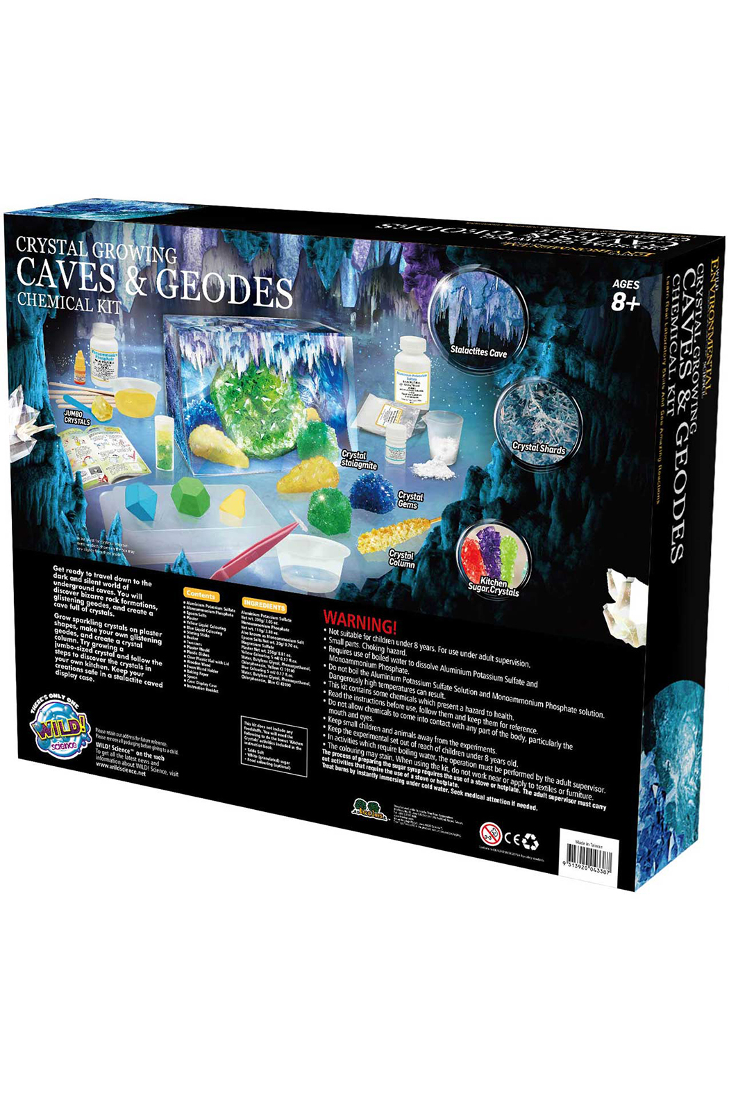 Learning Advantage Wild Environmental Science: Crystal Growing Caves & Geodes Chemical Kit - Side Cropped Image