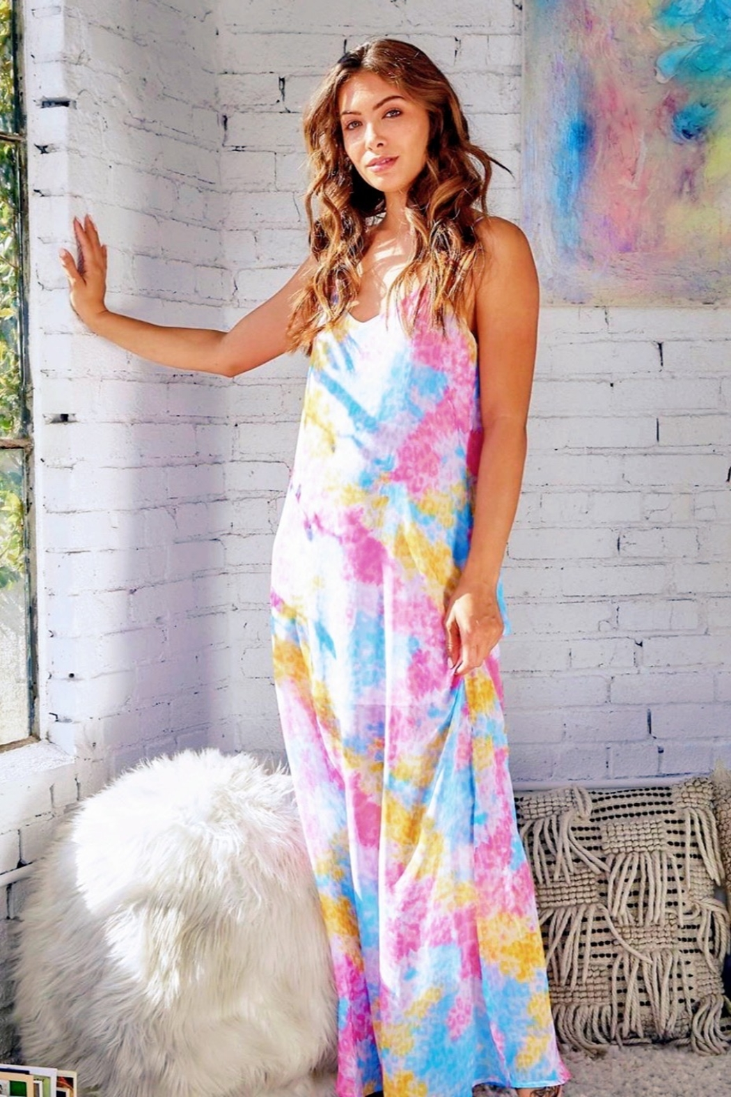 CRIV Wild Ride Tie Dye Maxi Dress - Front Cropped Image