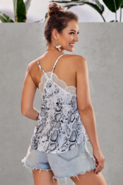 Shewin Wild Thing Snake Print Tank Top - Front full body