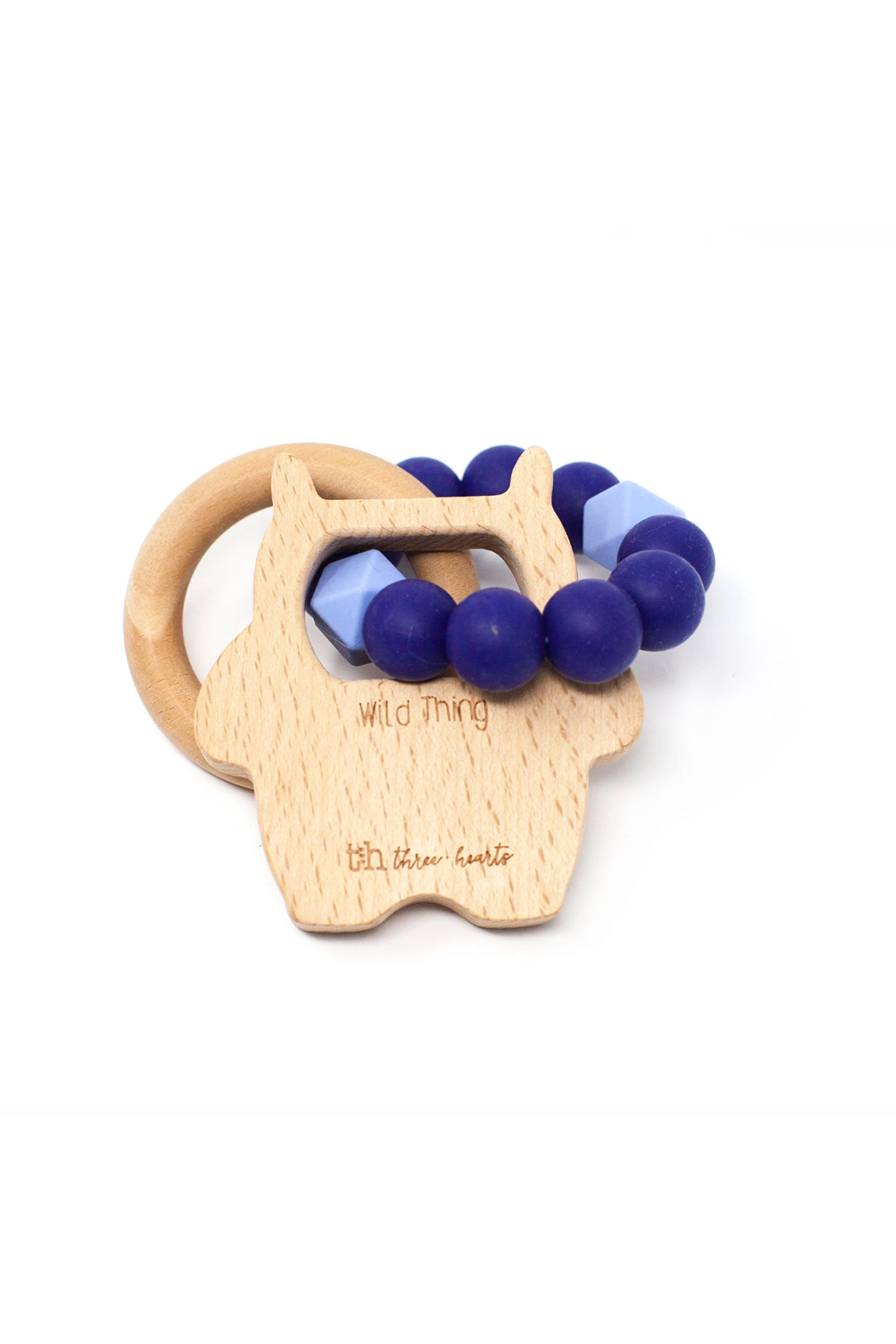 Three Hearts Wild Thing Teething Rattle - Front Cropped Image