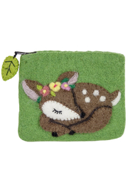 DZI Handmade Wild Woolies Fawn Coin Purse - Front cropped