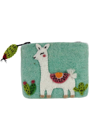 DZI Handmade Wild Woolies Happy Llama Coin Purse - Front cropped