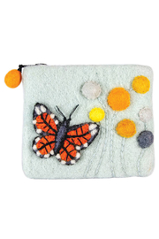 DZI Handmade Wild Woolies Monarch Butterfly Coin Purse - Front cropped