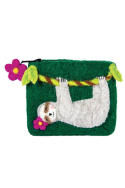DZI Handmade Wild Woolies Swingin' Sloth Coin Purse - Front cropped