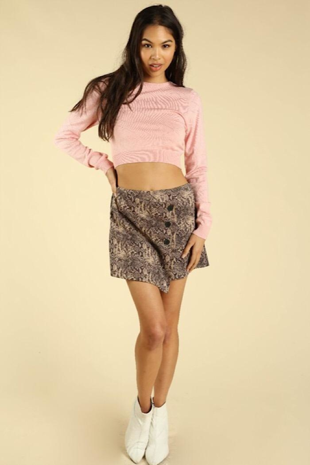 Wild Honey Asymmetrical Snake Skin Skirt With Buttons - Front Cropped Image