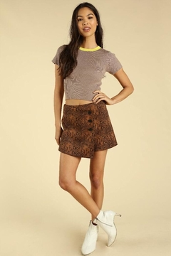 Wild Honey Asymmetrical Snake Skin Skirt With Buttons - Product List Image