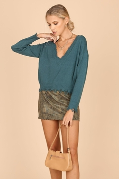 Shoptiques Product: Cropped Distressed Sweater