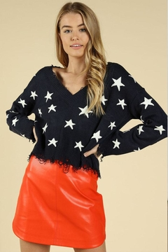 Shoptiques Product: Distressed Star Sweater