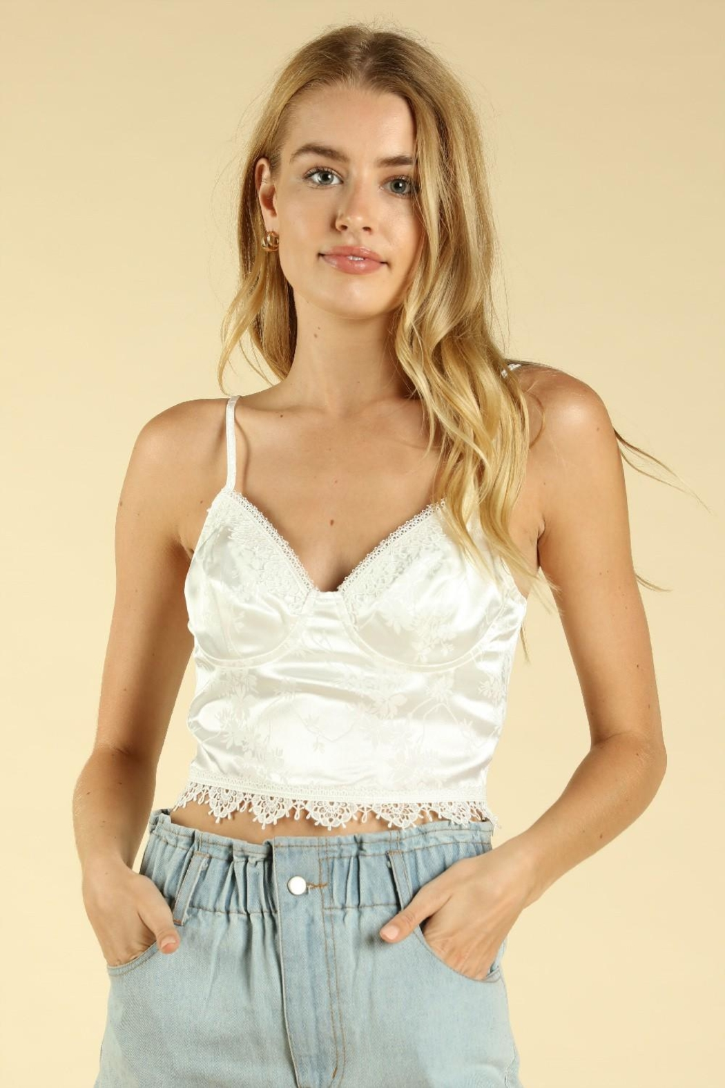 Wild Honey Lace Trim Crop-Top - Front Cropped Image