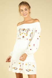 Wild Honey Off-Shoulder Floral-Embroidered Dress - Product Mini Image