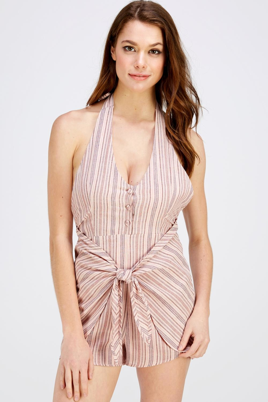 Wild Honey Pink Stripe Romper - Front Cropped Image