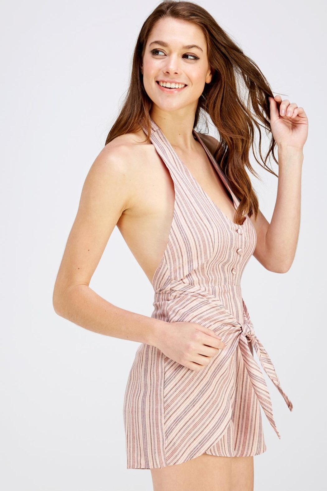 Wild Honey Pink Stripe Romper - Front Full Image