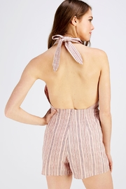 Wild Honey Pink Stripe Romper - Back cropped