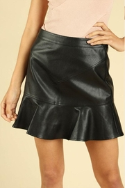 Wild Honey Ruffle Leather Skirt - Front cropped