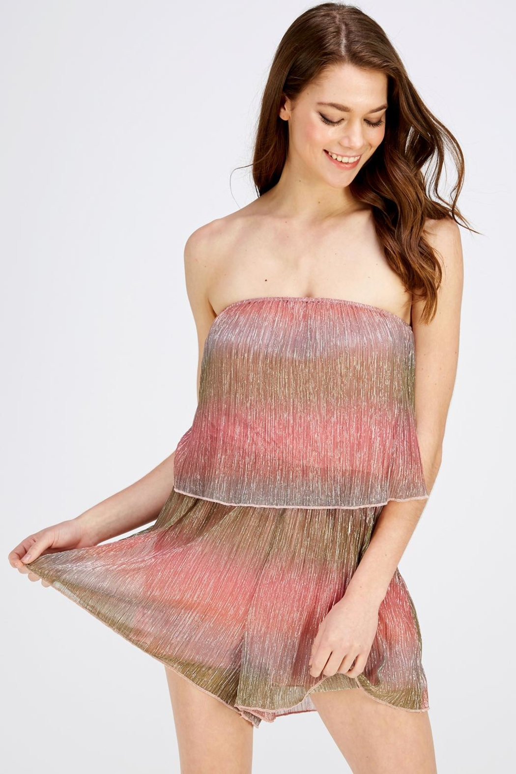 Wild Honey Shimmer Tube Romper - Main Image
