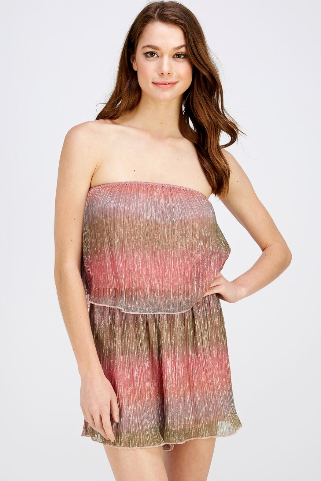 Wild Honey Shimmer Tube Romper - Front Full Image