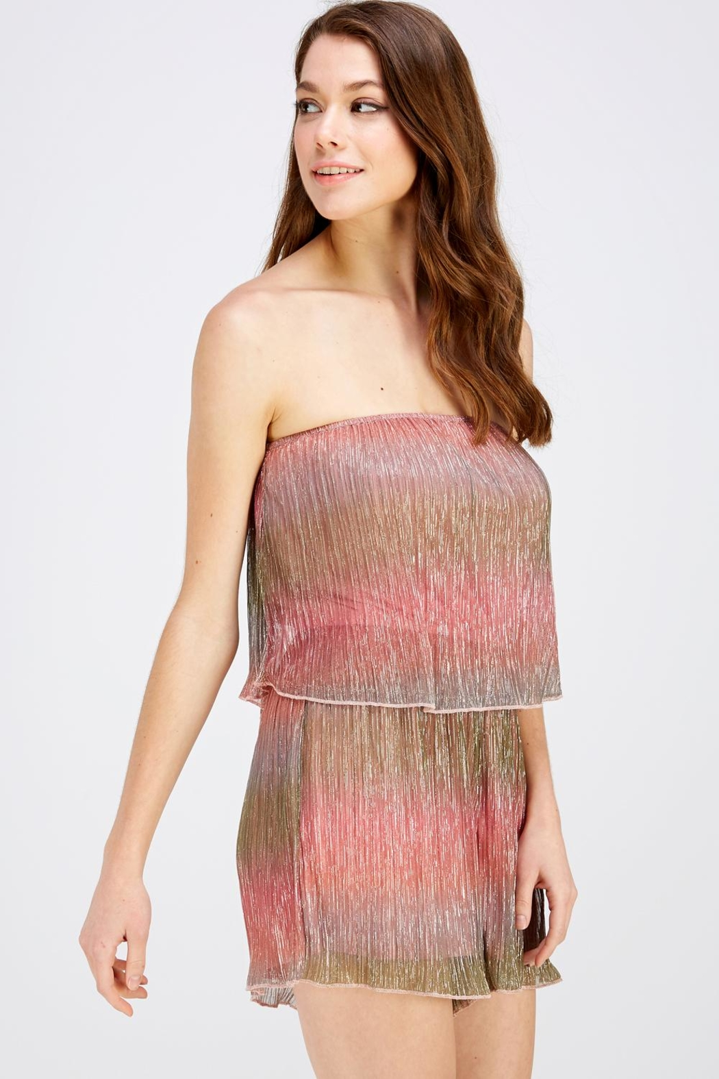 Wild Honey Shimmer Tube Romper - Side Cropped Image