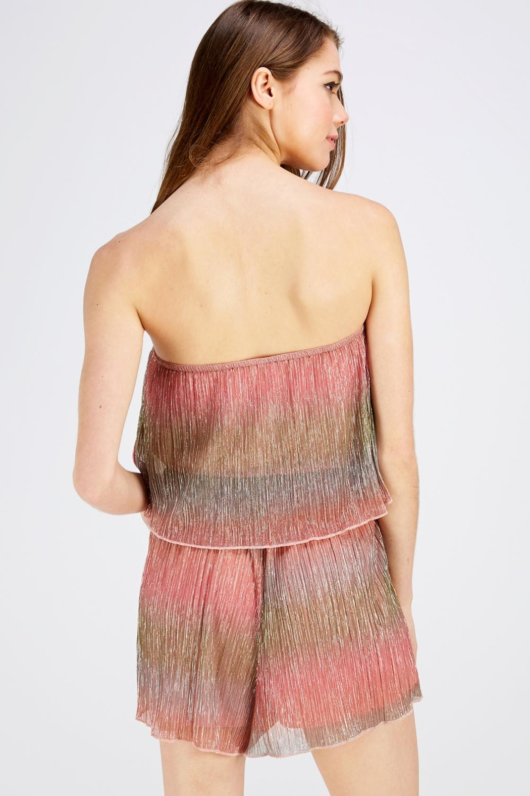 Wild Honey Shimmer Tube Romper - Back Cropped Image