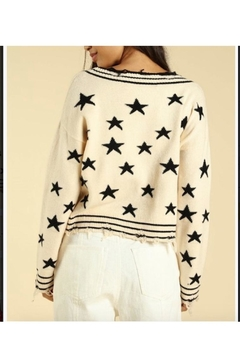 Wild Honey Star Print V-Neck Sweater - Alternate List Image