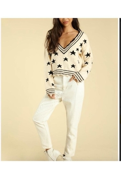 Wild Honey Star Print V-Neck Sweater - Product List Image