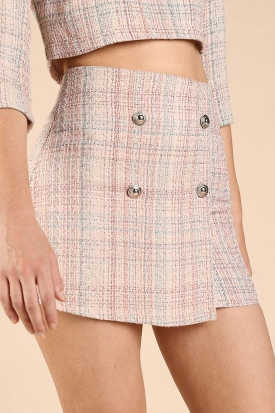Wild Honey Tweed Mini Skirt - Side Cropped Image