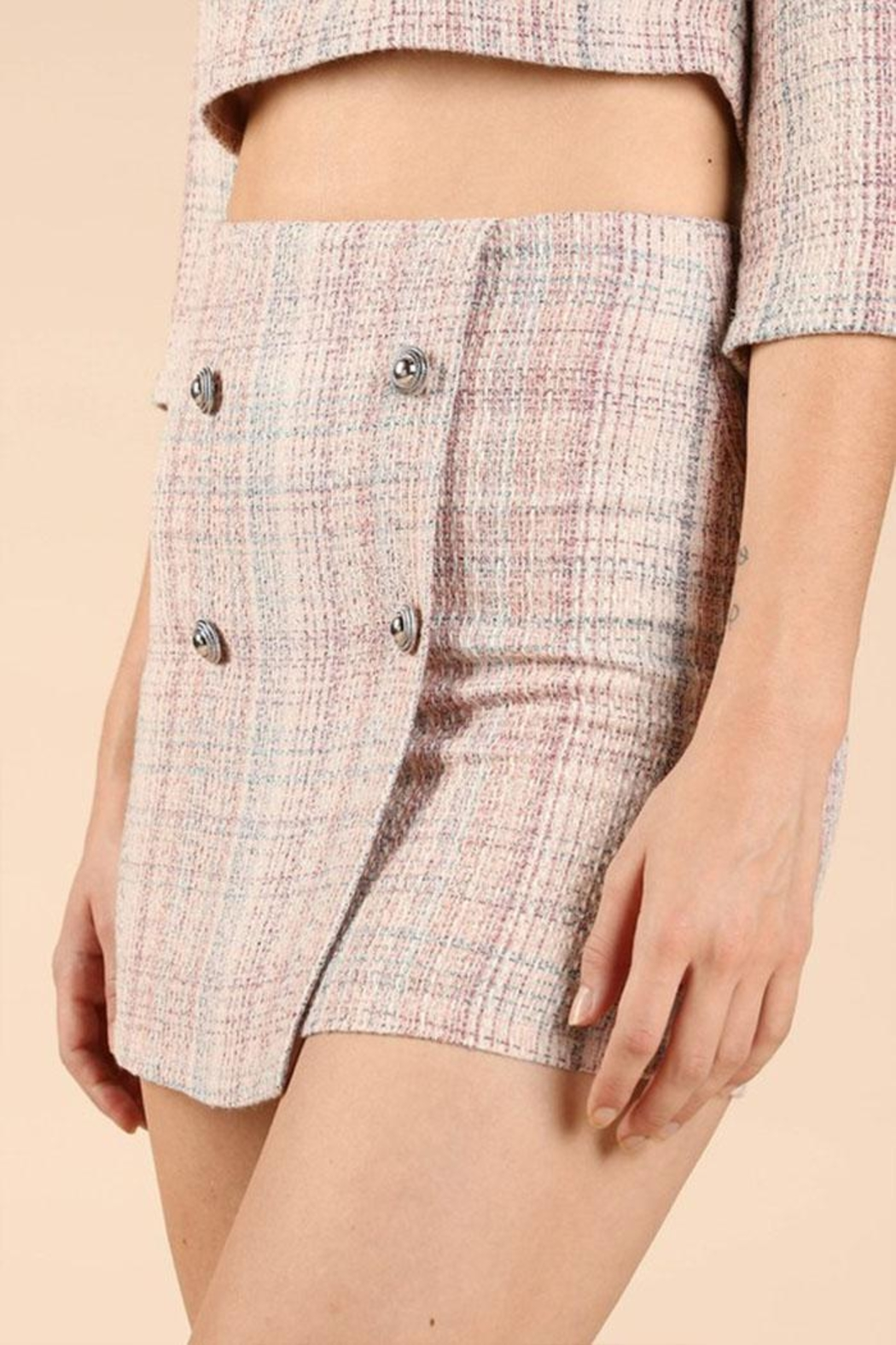 Wild Honey Tweed Mini Skirt - Front Full Image