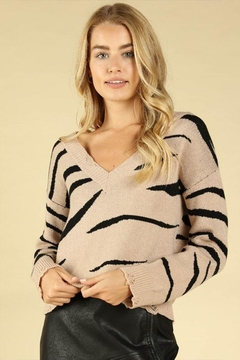 Shoptiques Product: Zebra Distressed Sweater